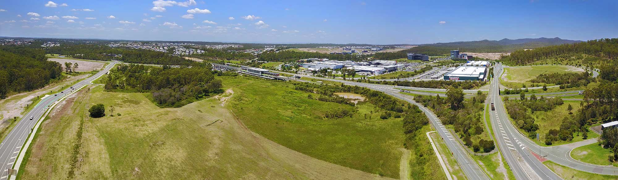 Brookwater Tech Park aerial panorama looking east to Brisbane using the DJI MavicPro