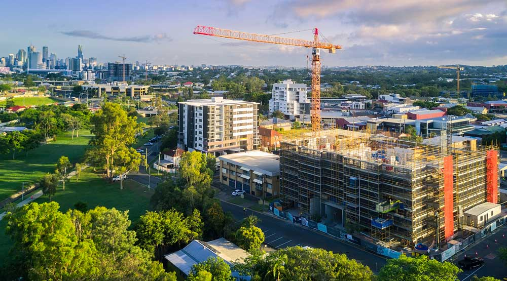 Crane construction drone photography Brisbane DroneAce
