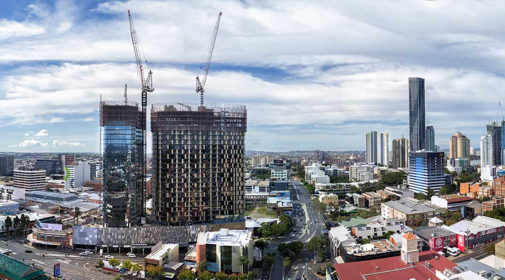 High rise construction Brisbane drone photograph by DroneAce