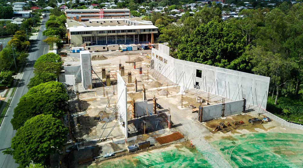 Sporting complex construction Brisbane drone photography by DroneAce