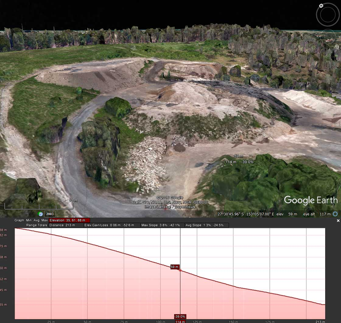 MavicPro Drone Mapping site inspection profile from Google Earth