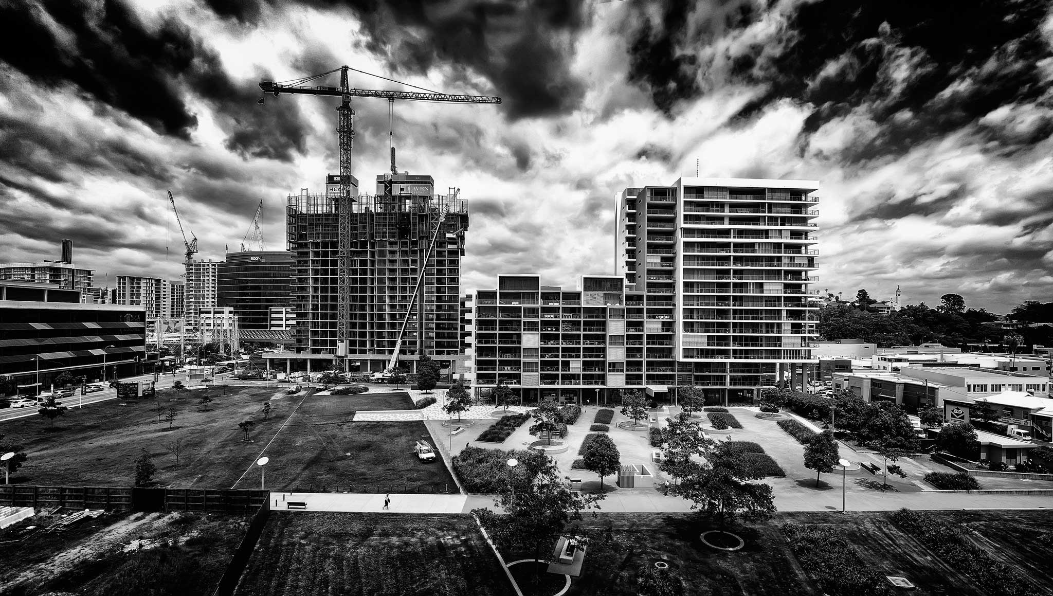 Brisbane aerial drone apartment photography at Newstead. High contrast black and white ideal for corporate branding