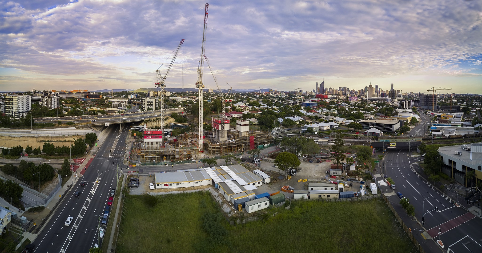 Aerial drone photograph of cranes OKeefe St Woolloongabba Brisbane DroneAce