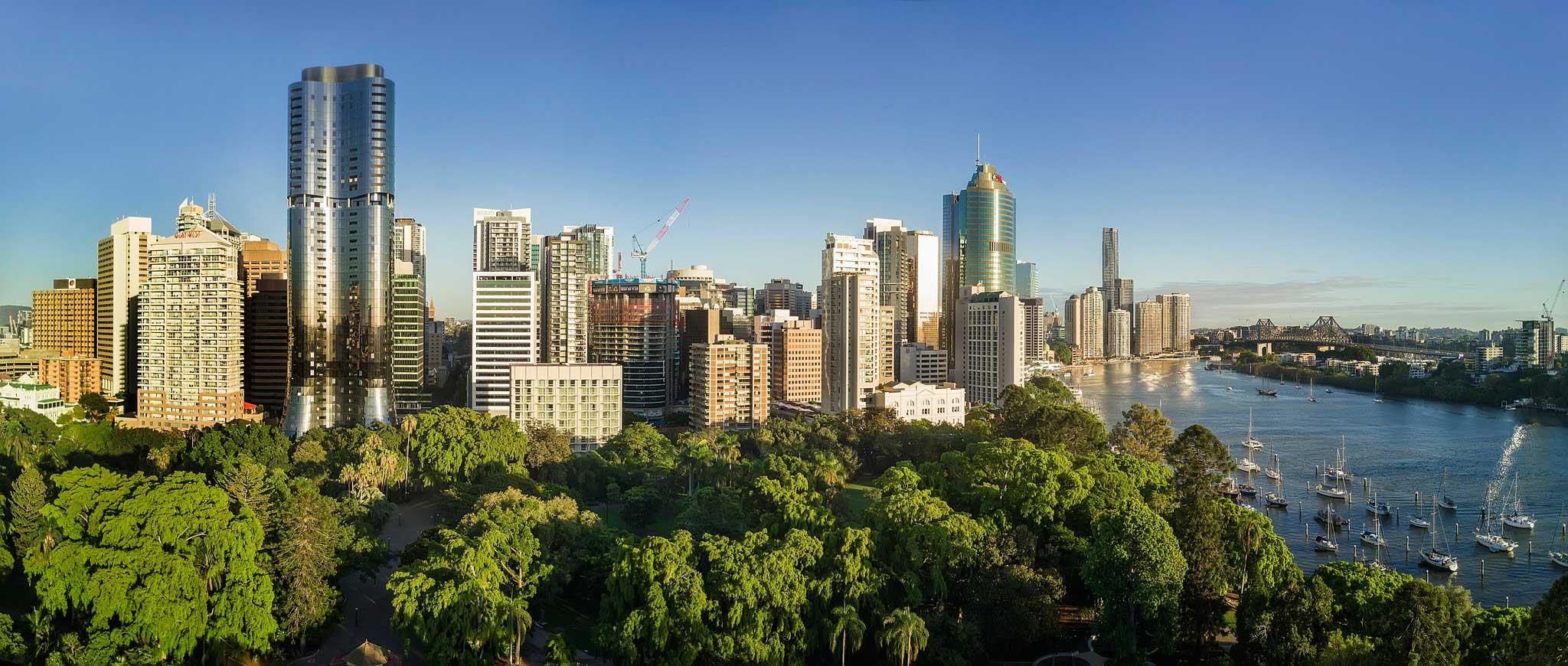 Brisbane City aerial panorama photograph Brisbane Botanic Gardens DroneAce