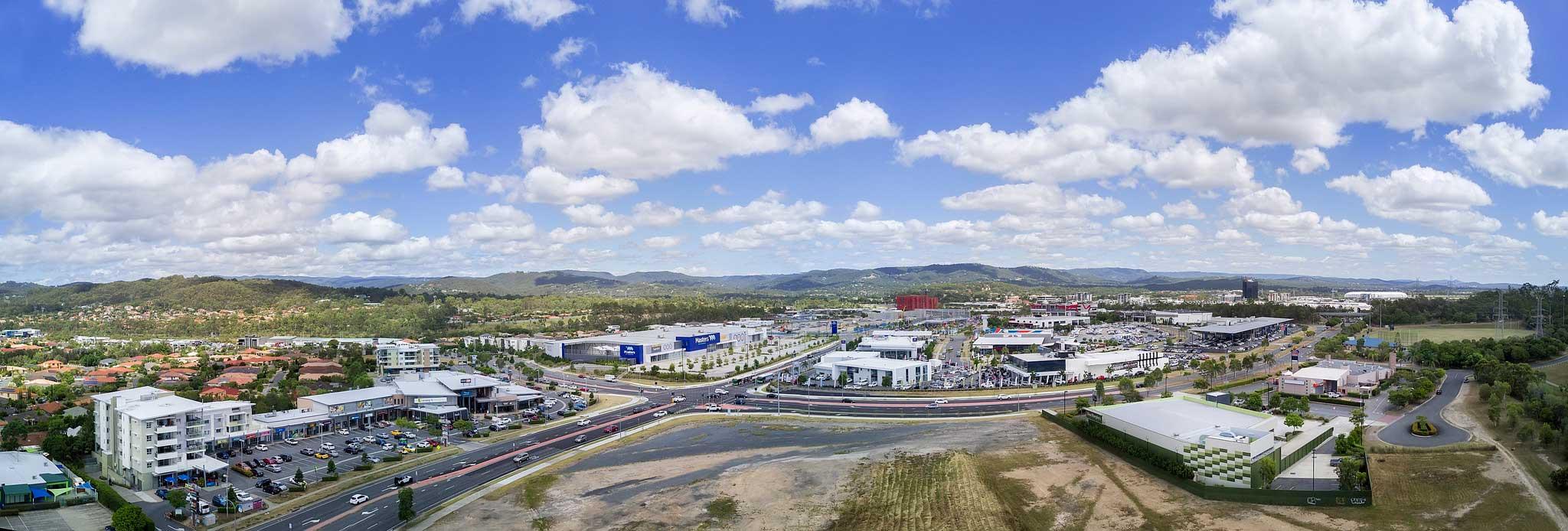 Robina Shopping precinct aerial panorama DroneAce