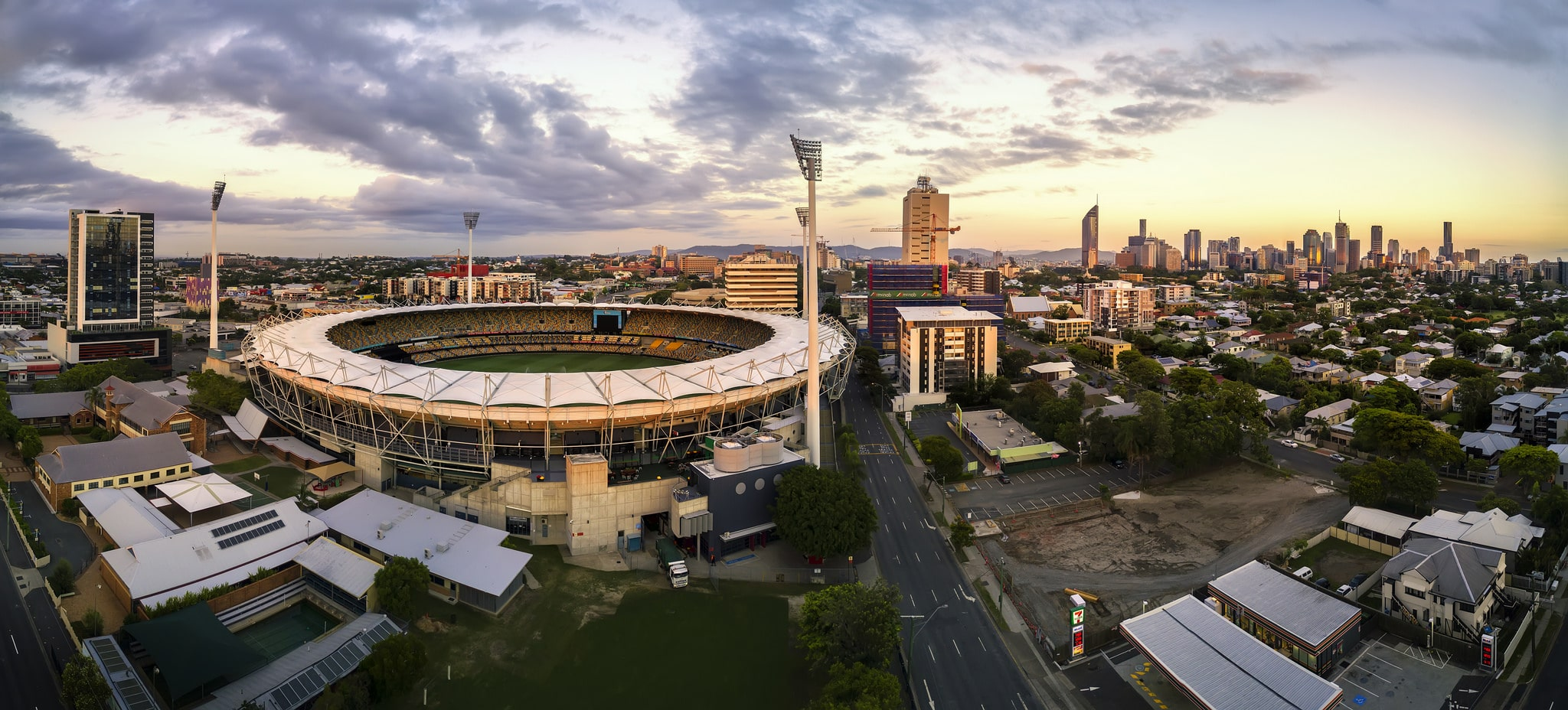 Aerial drone panorama photography The Gabba Brisbane DroneAce