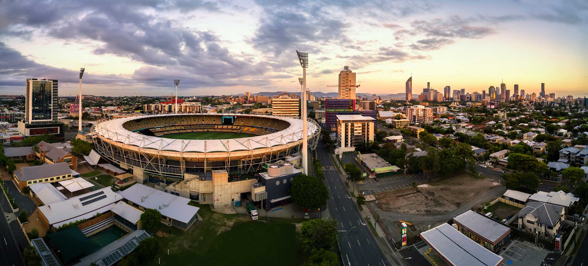 Drone Panorama Photography - Woolloongabba Stadium sunrise aerial drone photography Brisbane DroneAce