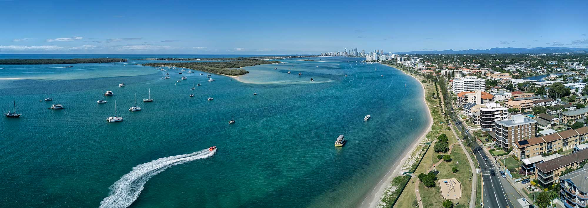 Drone photography April 2017 The Broadwater, Gold Coast panorama DroneAce