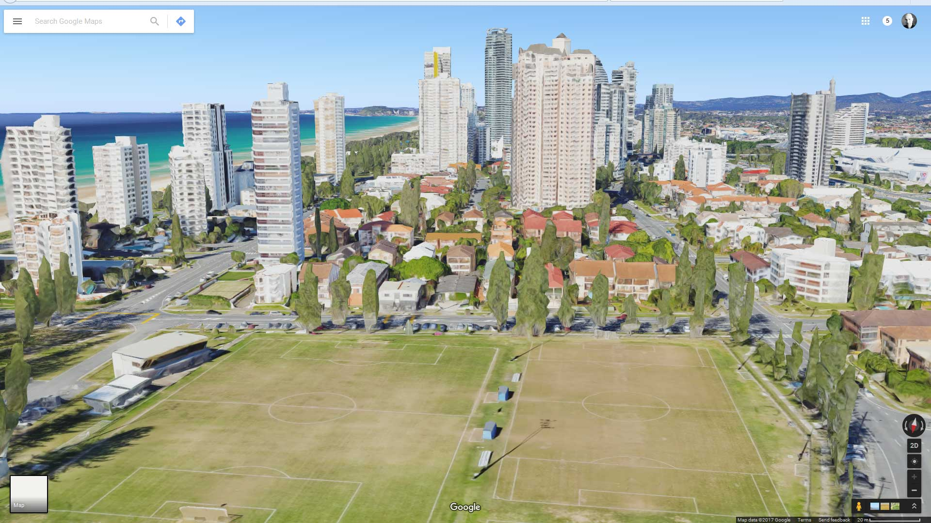 Brisbane drone panorama photography montage - Broadbeach drone panorama previsualisation using Google Maps
