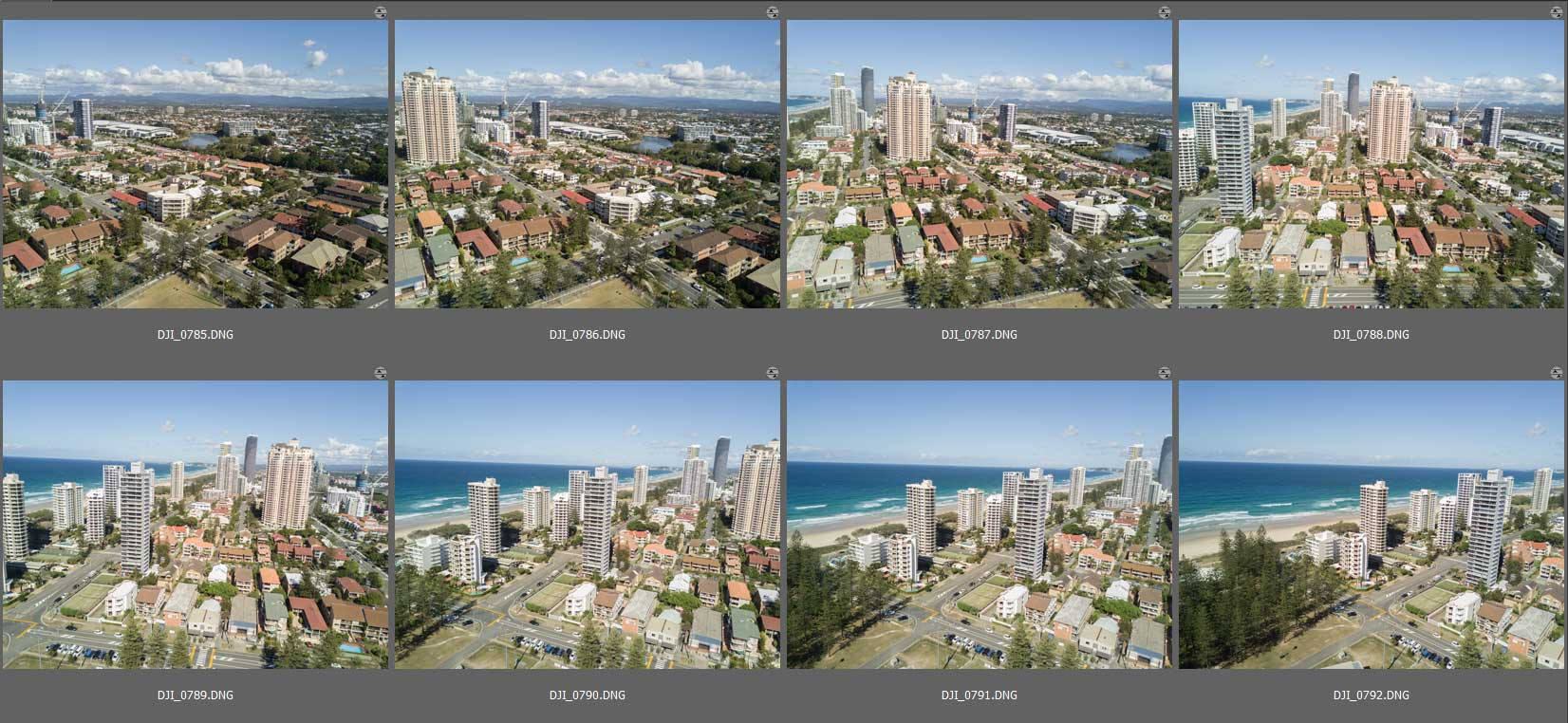 Brisbane drone panorama photography montage - Individual Broadbeach images ready for Autopano stitching
