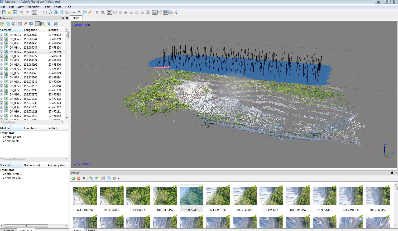 Geospatial Drone Mapping using Consumer Drones - dense point cloud