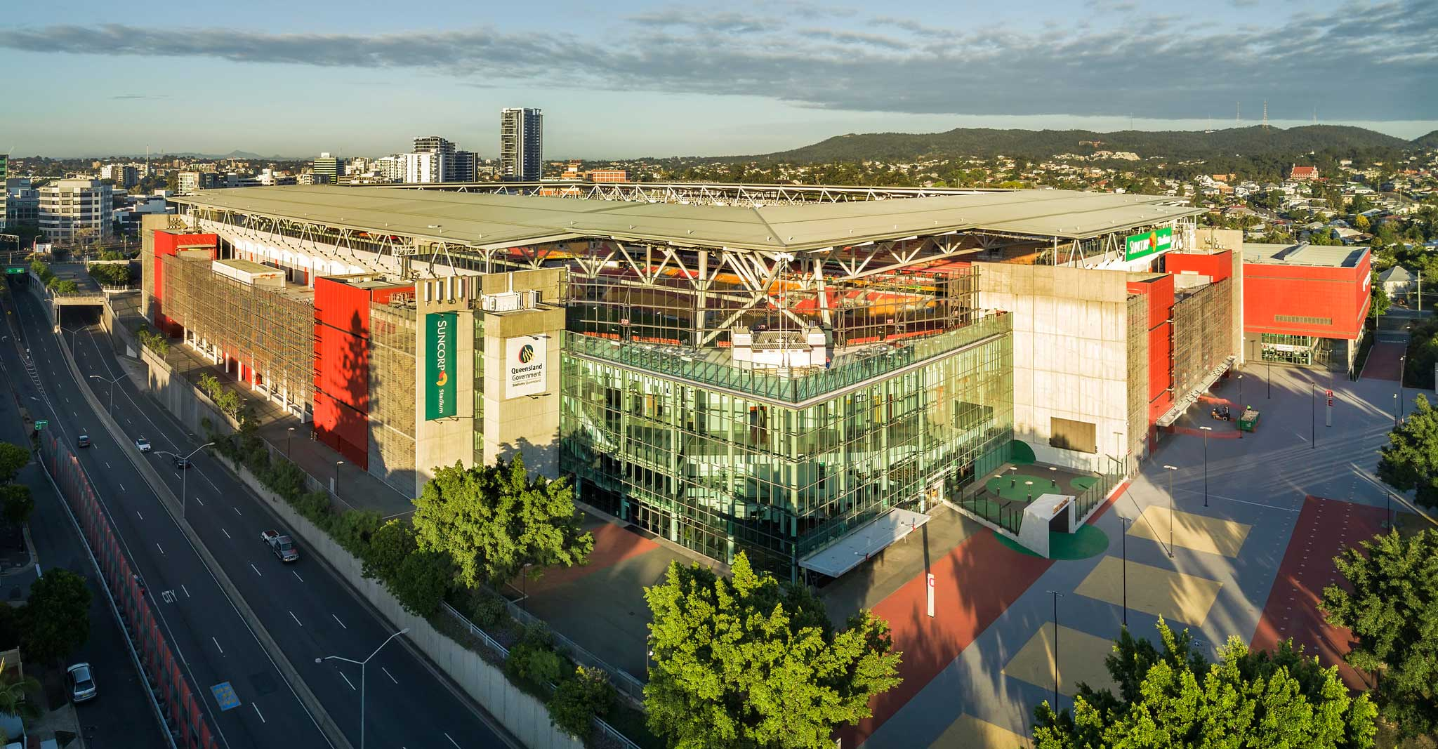 Suncorp Stadium Aerial Drone Panorama mid height DroneAce