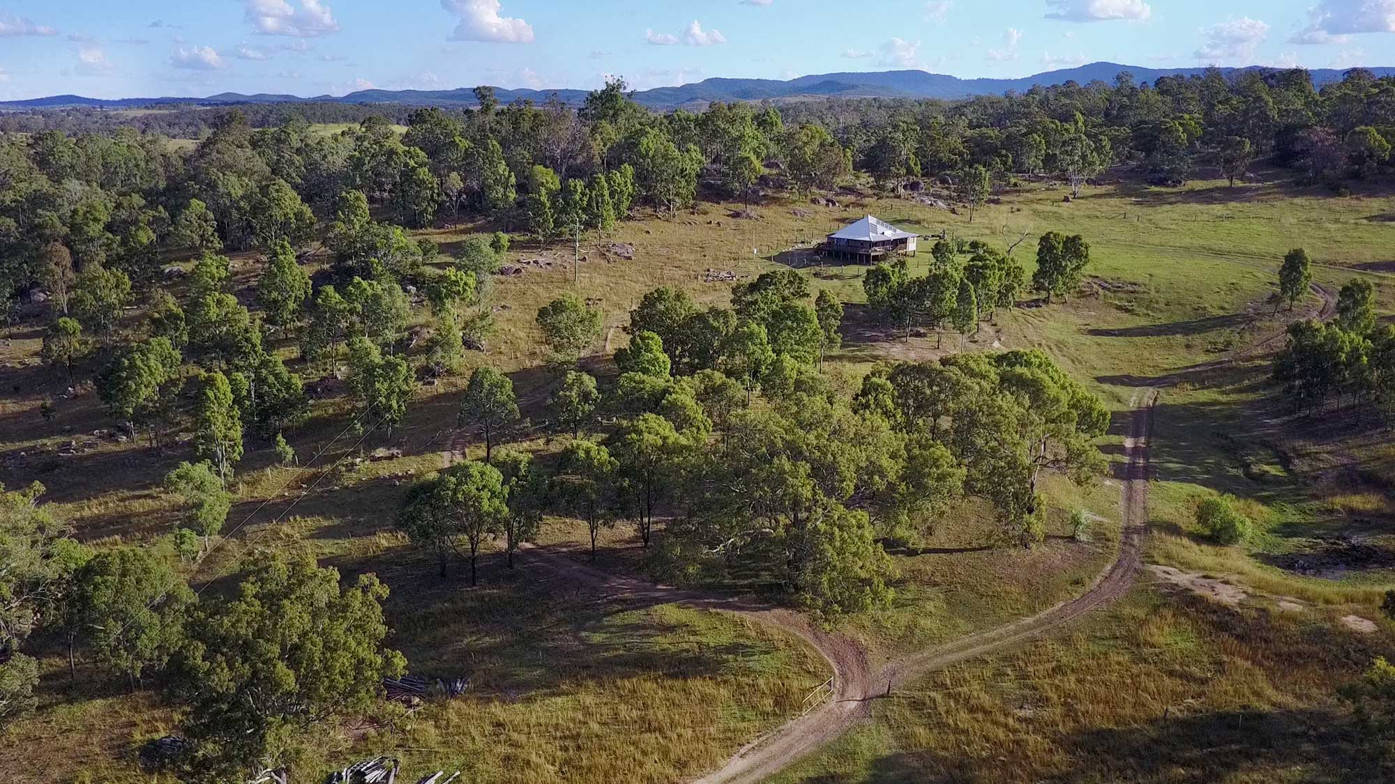 Aerial drone photography of BunyipSprings Farmstay