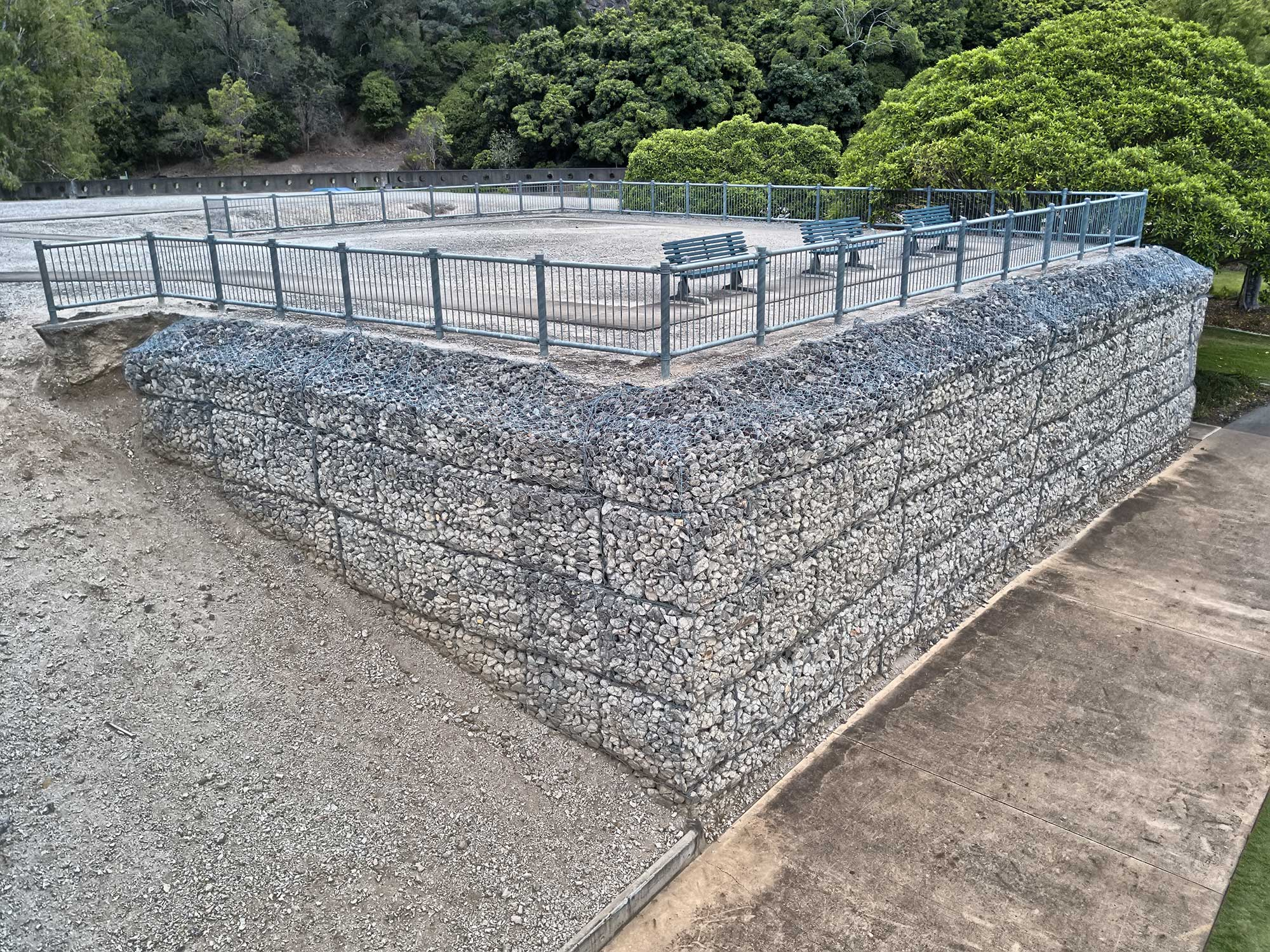 Aerial drone photography of Concrib 17 Mile Rocks Gabion viewing platform
