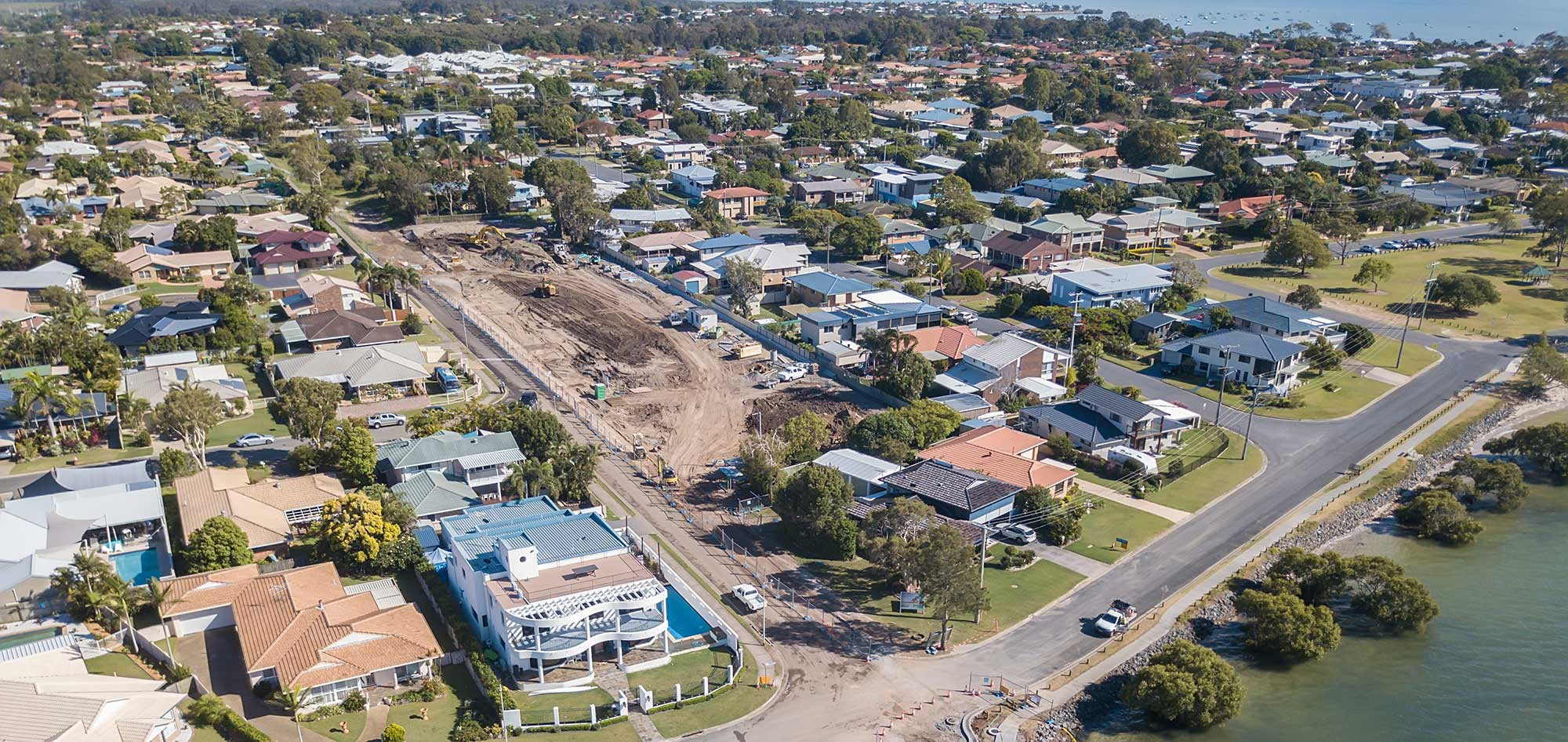 Simon St Victoria Point land development drone photography from 50 metres above the ground
