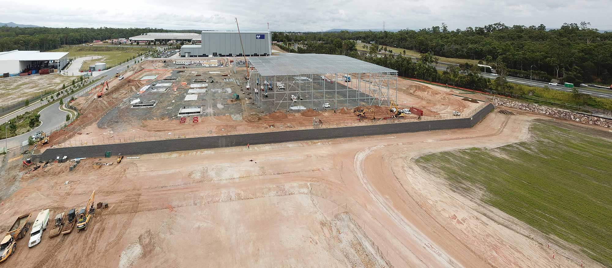 Aerial Video for Concrib Segmental Wall Construction, Brisbane