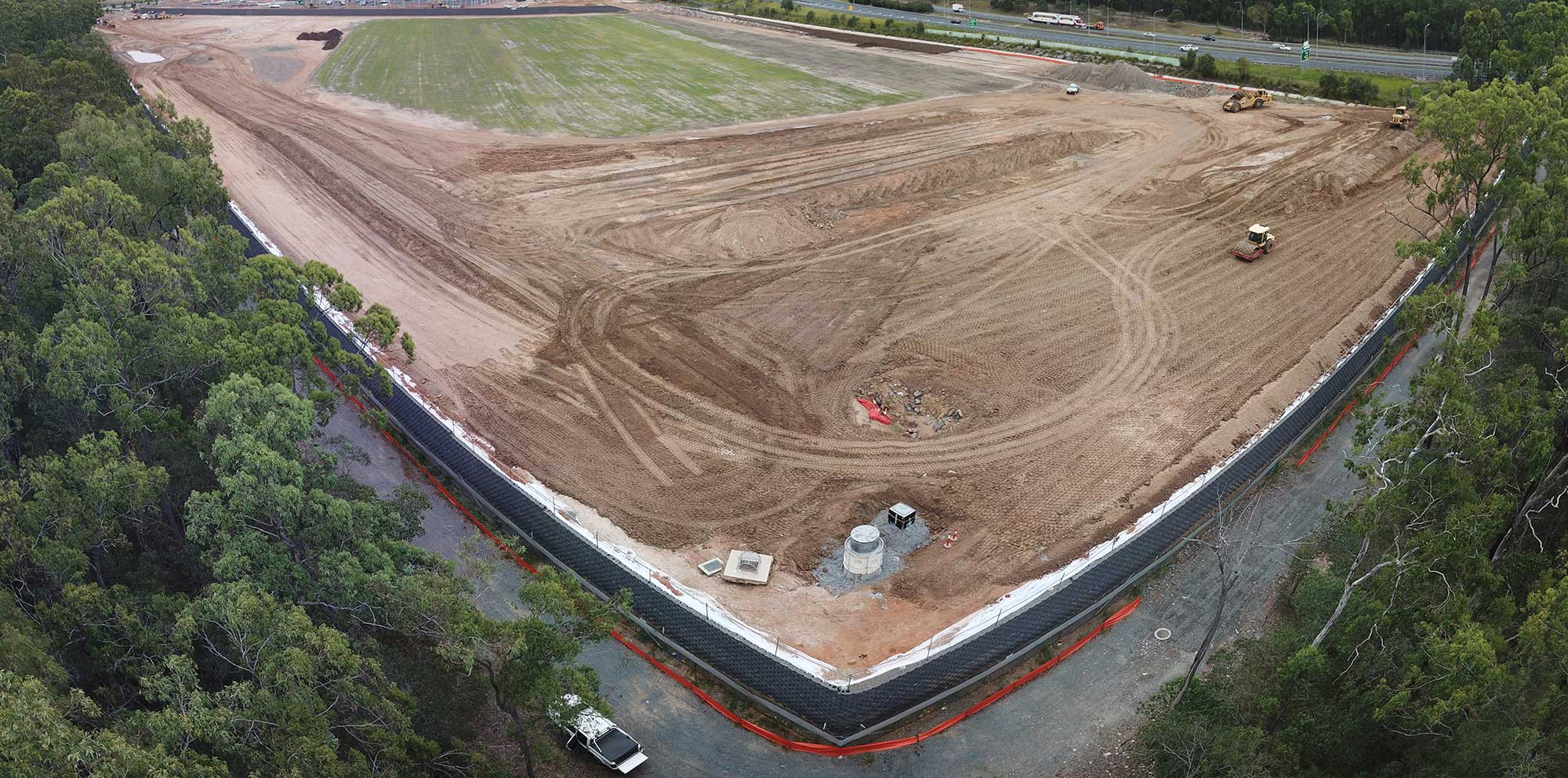 Aerial drone photography for Concrib Segmental Wall Construction Heathwood Brisbane
