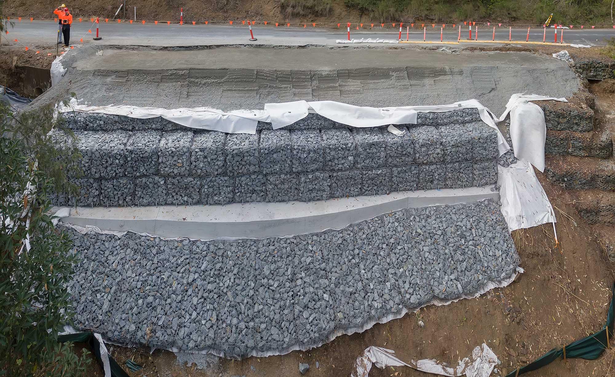 Concrib Gabion Wall Lamington National Park Landslip Repair panorama photograph