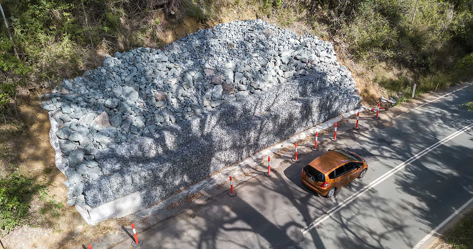 Concrib Gabion Wall Lamington National Park Landslip Repair Aerial photography