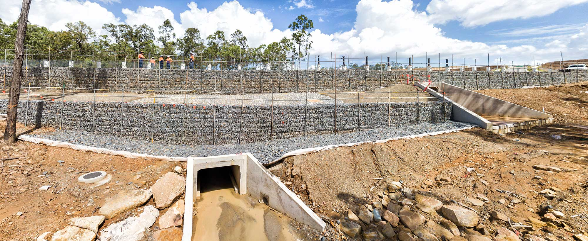 Concrib Springfield West Gabion Wall Construction Aerial Video