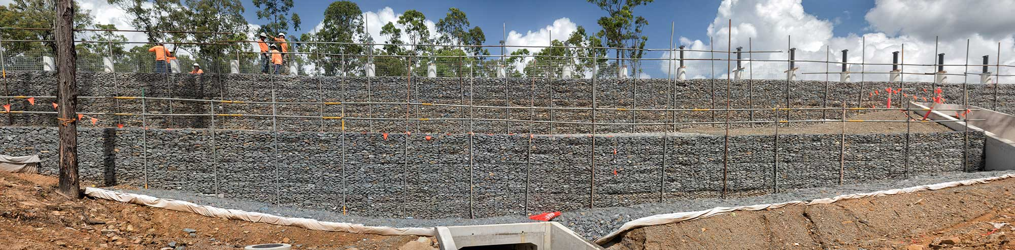 Concrib Gabion Wall Lamington National Park Landslip Repair Aerial photography
