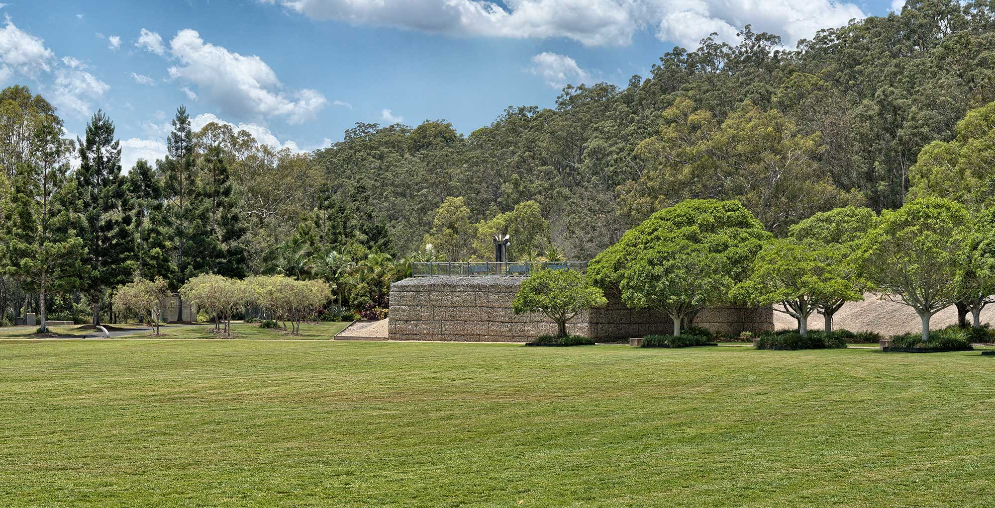 Concrib Gabion viewing platform at 17 Mile Rocks , Brisbane from across the park