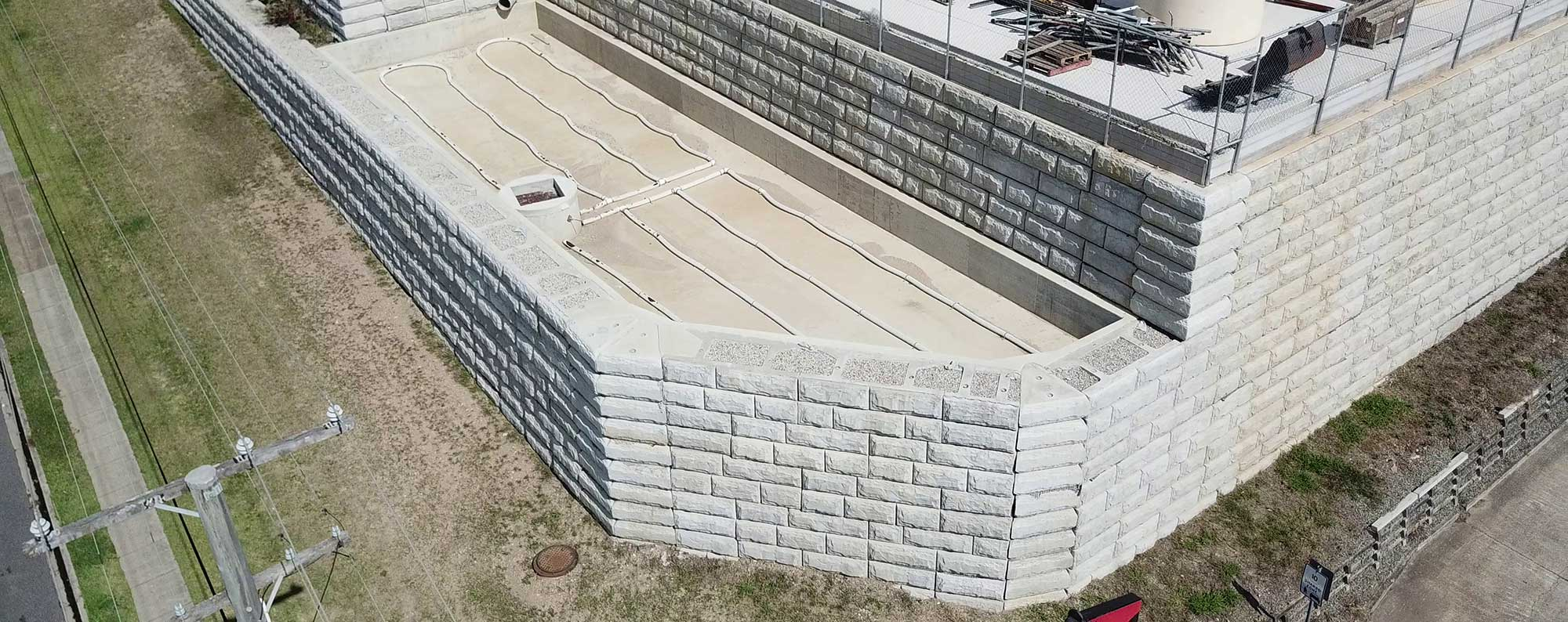 Concrib StoneStrong Retaining Wall Richlands aerial video