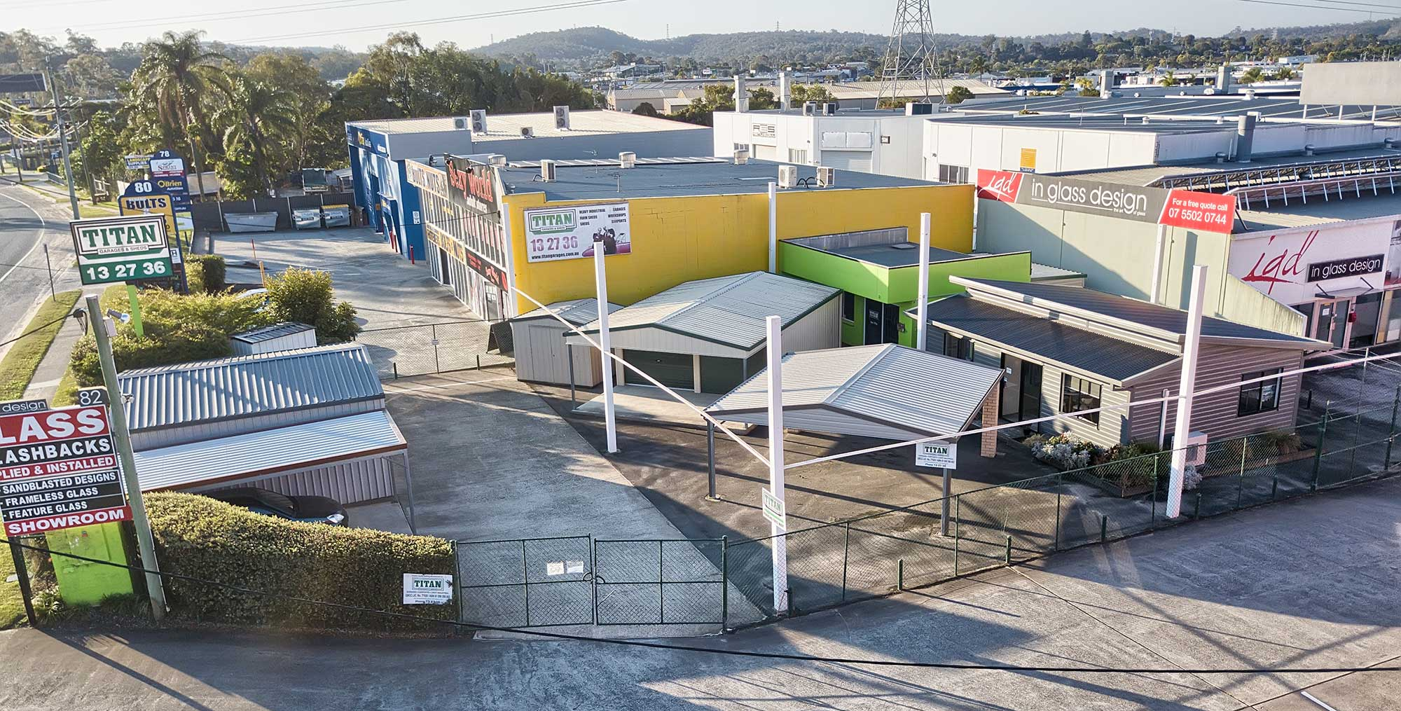 Titan Sheds drone photography Nerang display centre