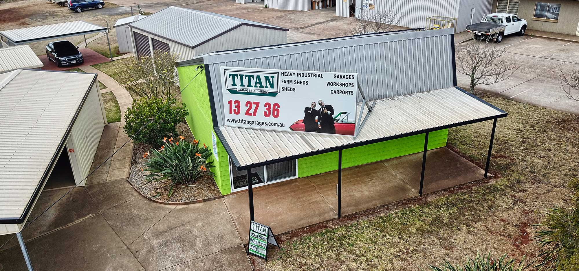 Titan Sheds drone photography Toowoomba display centre