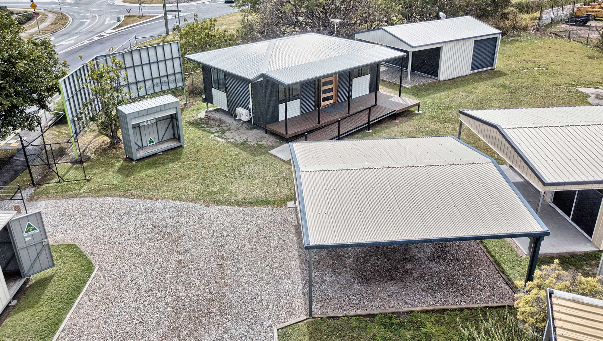 Titan Sheds drone photography Zilmere display centre