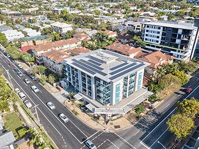 Drone photography of solar panel installation at Toowong