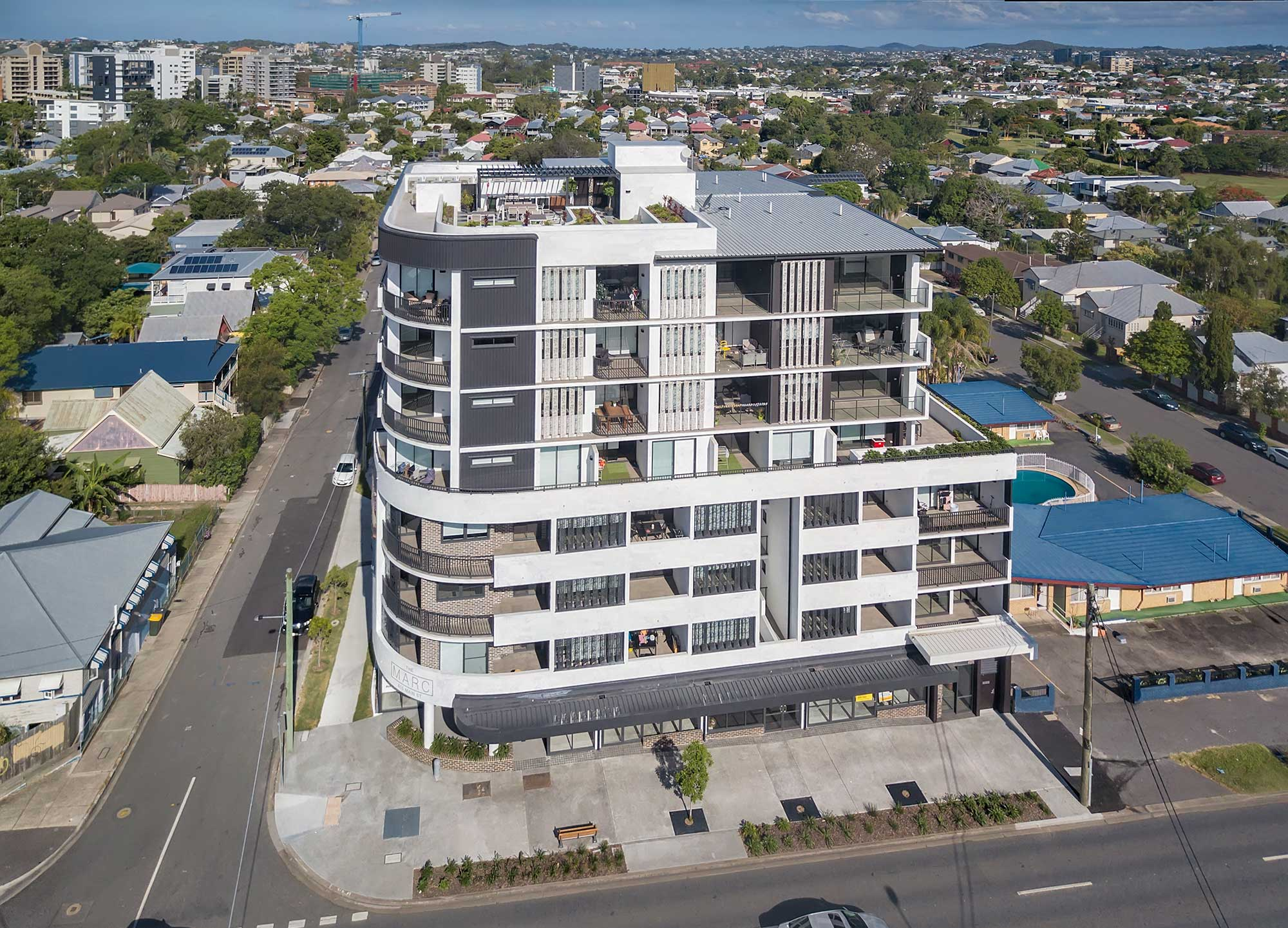 Aerial drone photography The Marc Constructions Group Kangaroo Point DroneAce Brisbane