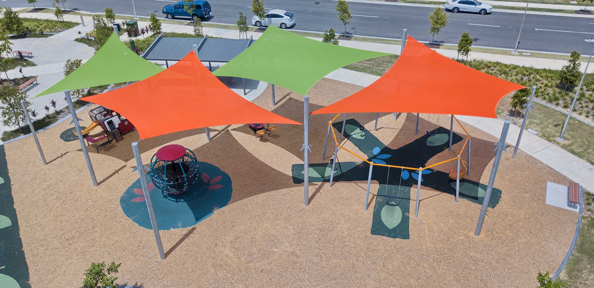 20 metre height - Aerial Drone photography Brisbane Shade Sail South Ripley