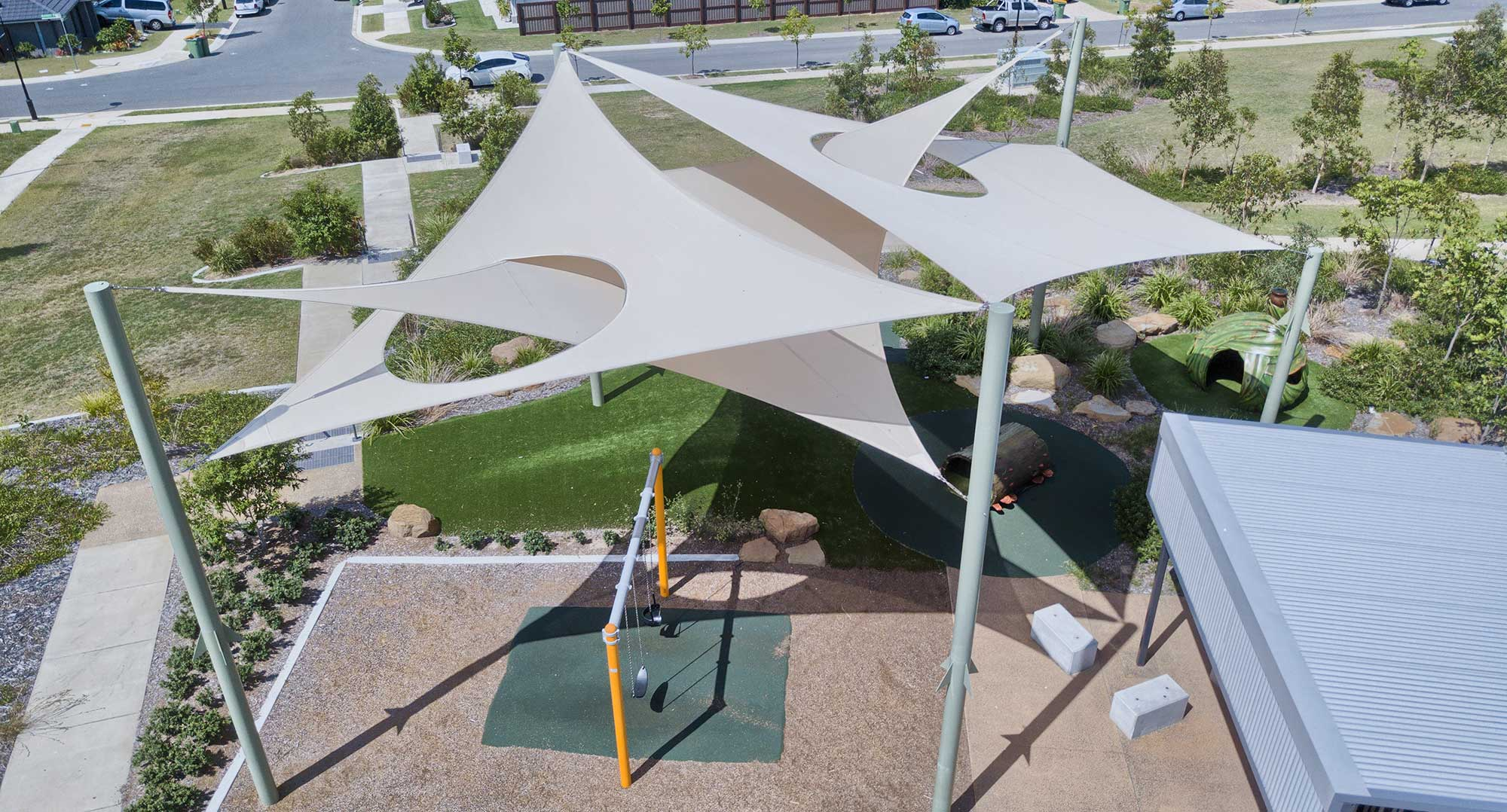 15metre height - Aerial Drone photography Brisbane Shade Sail South Ripley