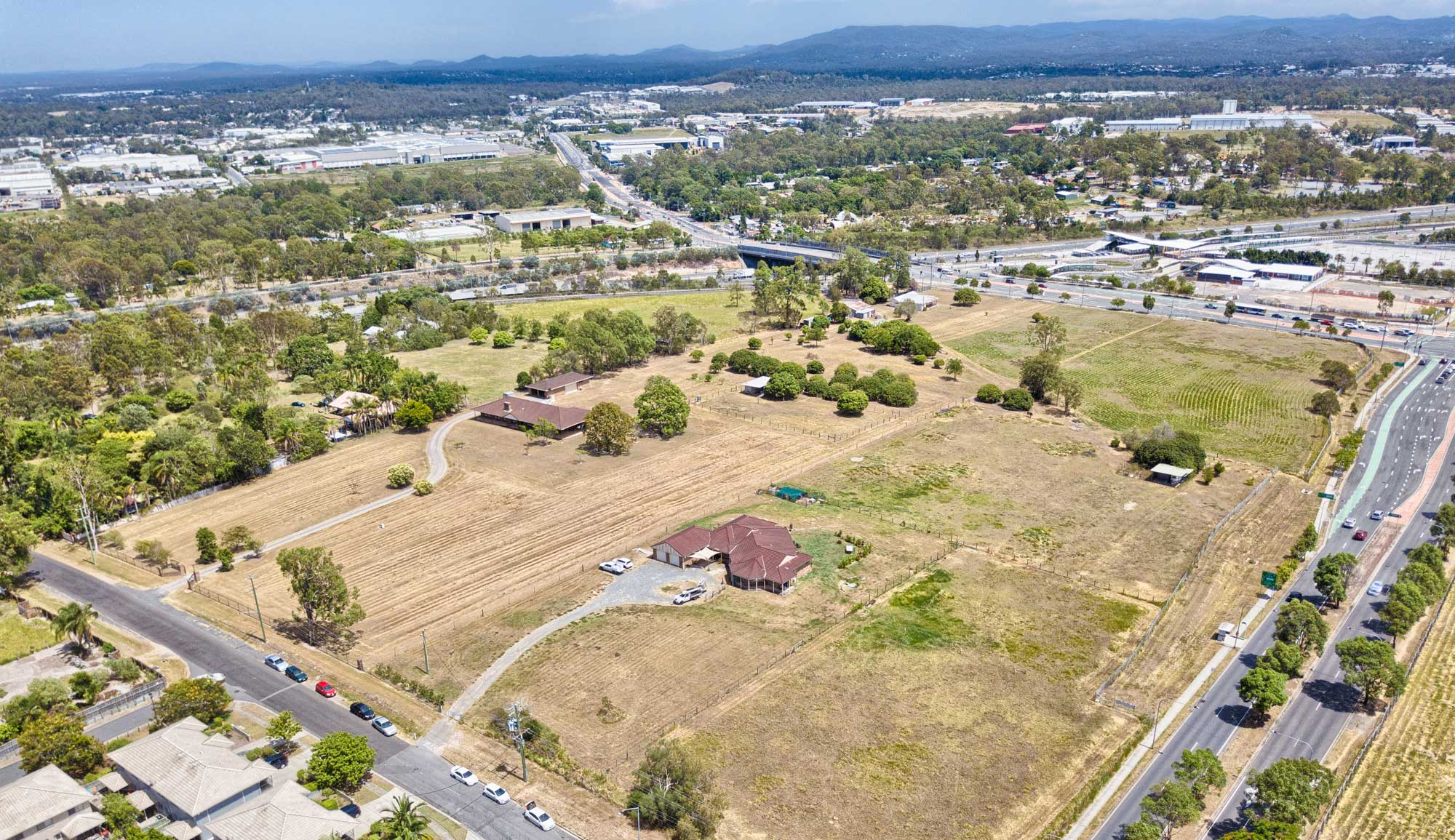 Drone photography of land for development - 100m above Government Rd Richlands