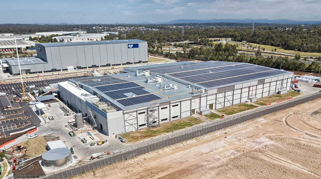 Drone photography of large format industrial building at Heathwood Logistics Park