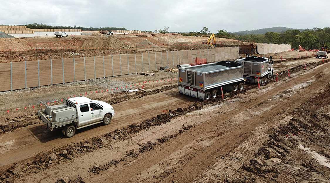Concrib gabion wall construction drone video