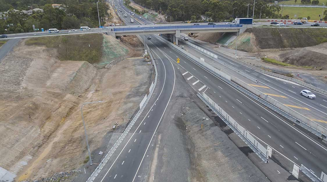 Drone photography HS Roads safety barrier on Logan Motorway enhancement project