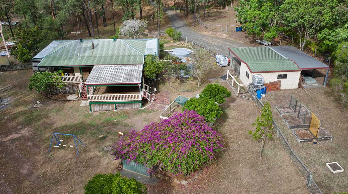 Drone photography of acreage home for sale Cedar Valley Elders Jimboomba