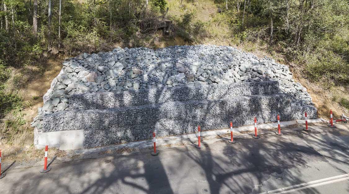 Drone photography Concrib gabion landslip repair Lamington National Park