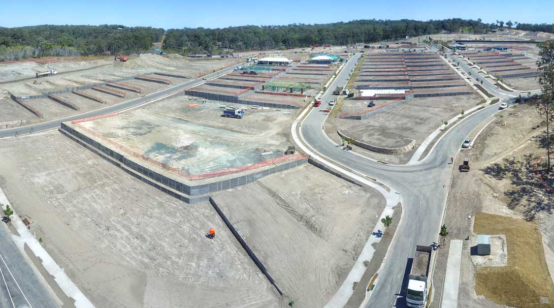 Drone photography of Concrib segmental wall at Brookhaven land development
