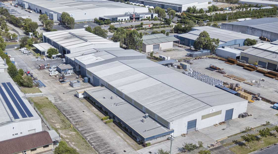 Drone photography of large format industrial building at Crestmead Brisbane