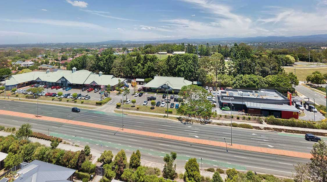 Drone photography of shopping centre on Dohles Rock Rd Murrumba Downs
