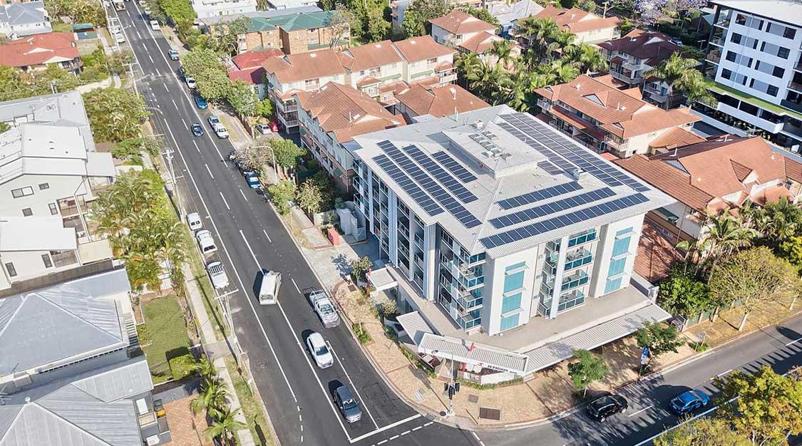 Drone photography Jephson Hotel solar panel installation