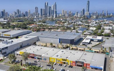 Drone photography of large format commercial building at Bundall