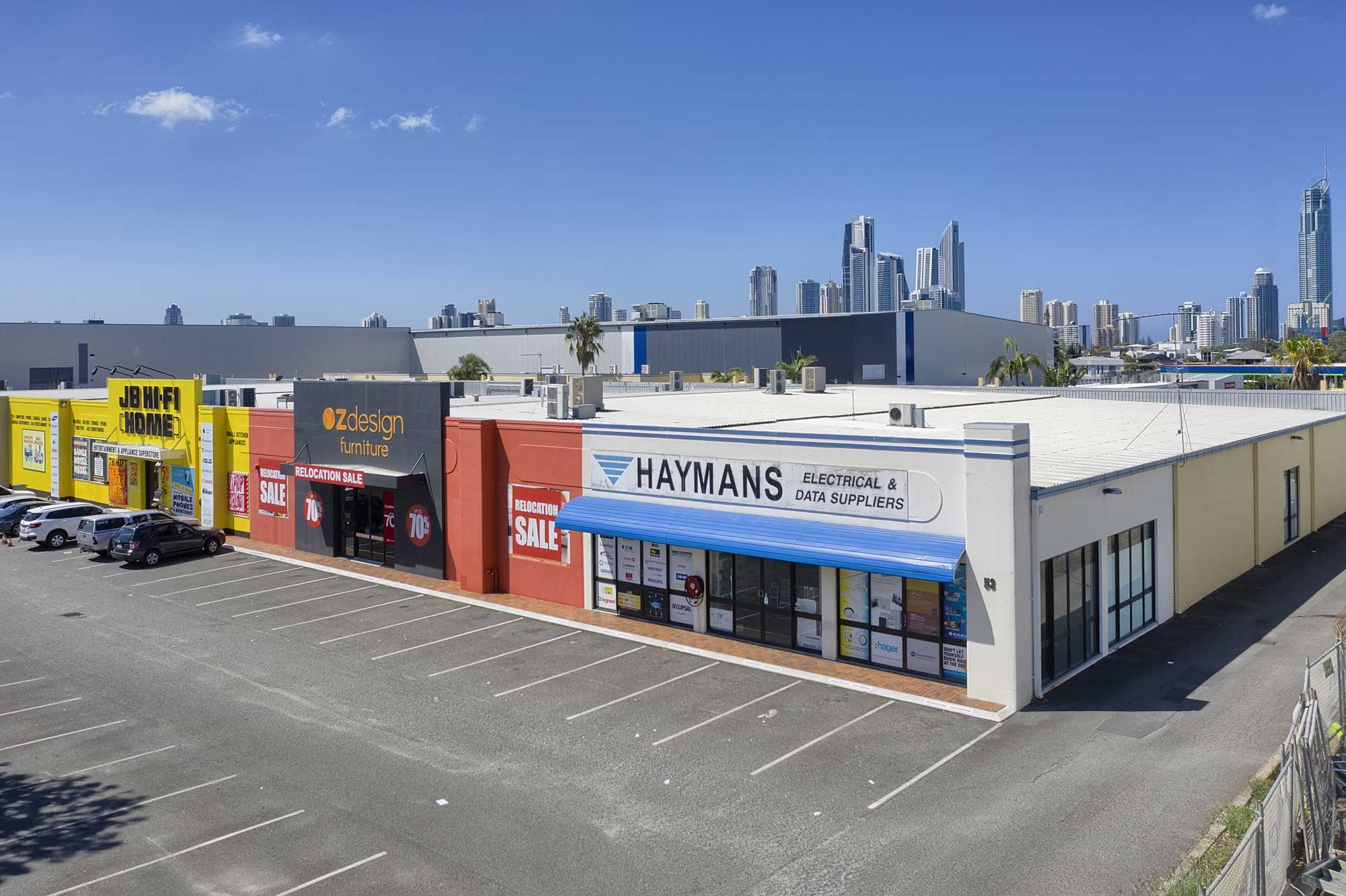 10 metres above the ground - drone photography of large format commercial building at Upton St, Bundall