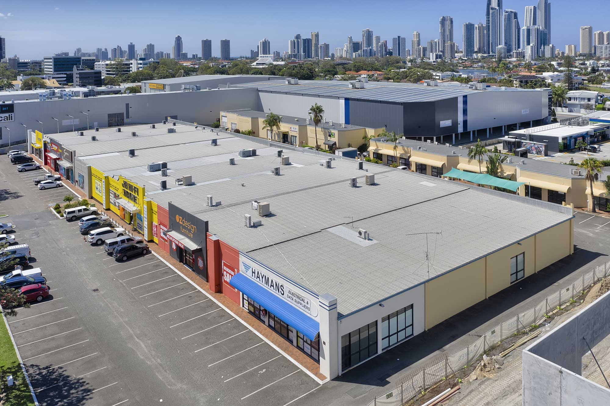 15 metres above the ground - drone photography of large format commercial building at Upton St, Bundall