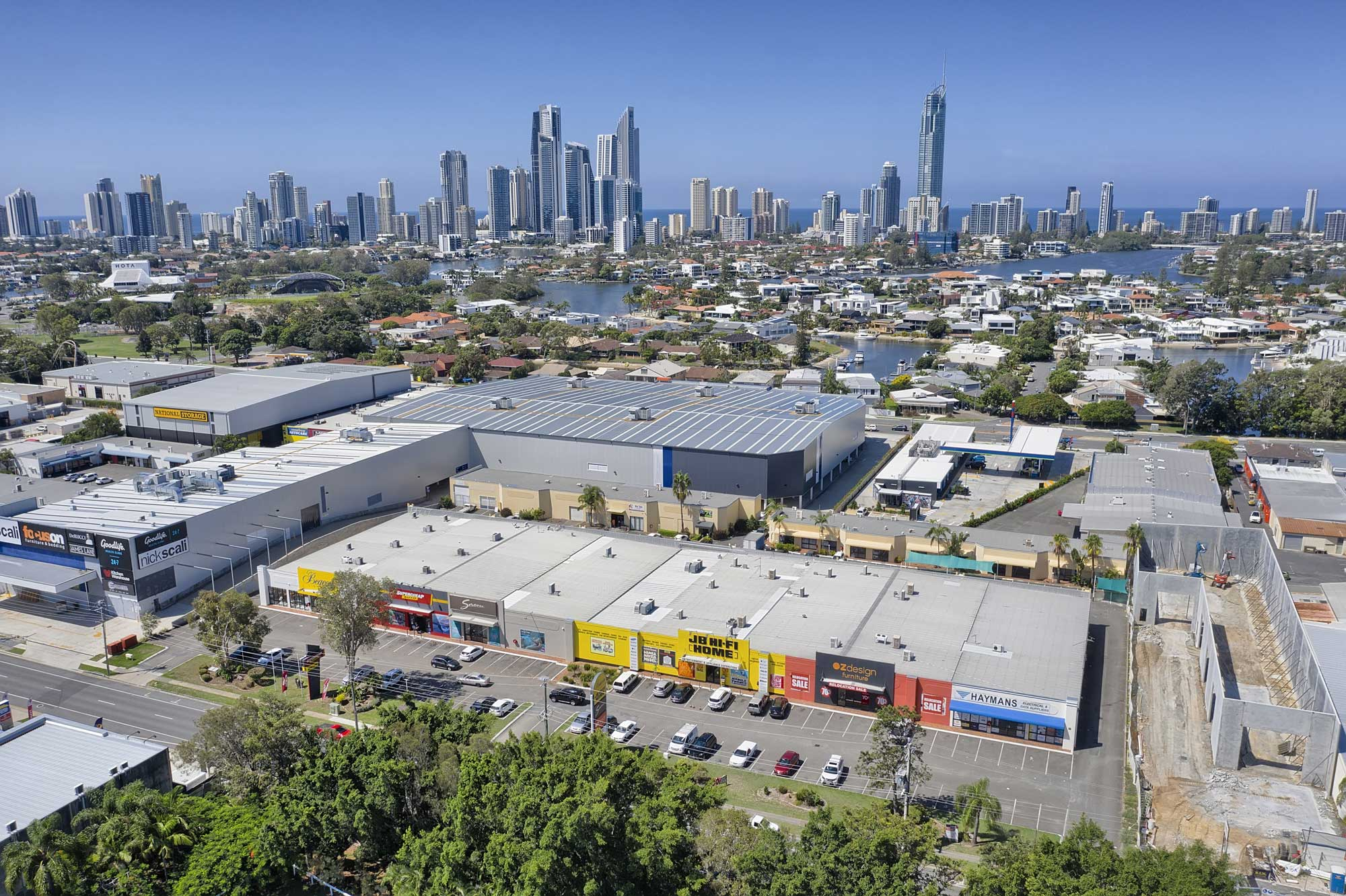 40 metres above the ground - drone photography of large format commercial building at Upton St, Bundall