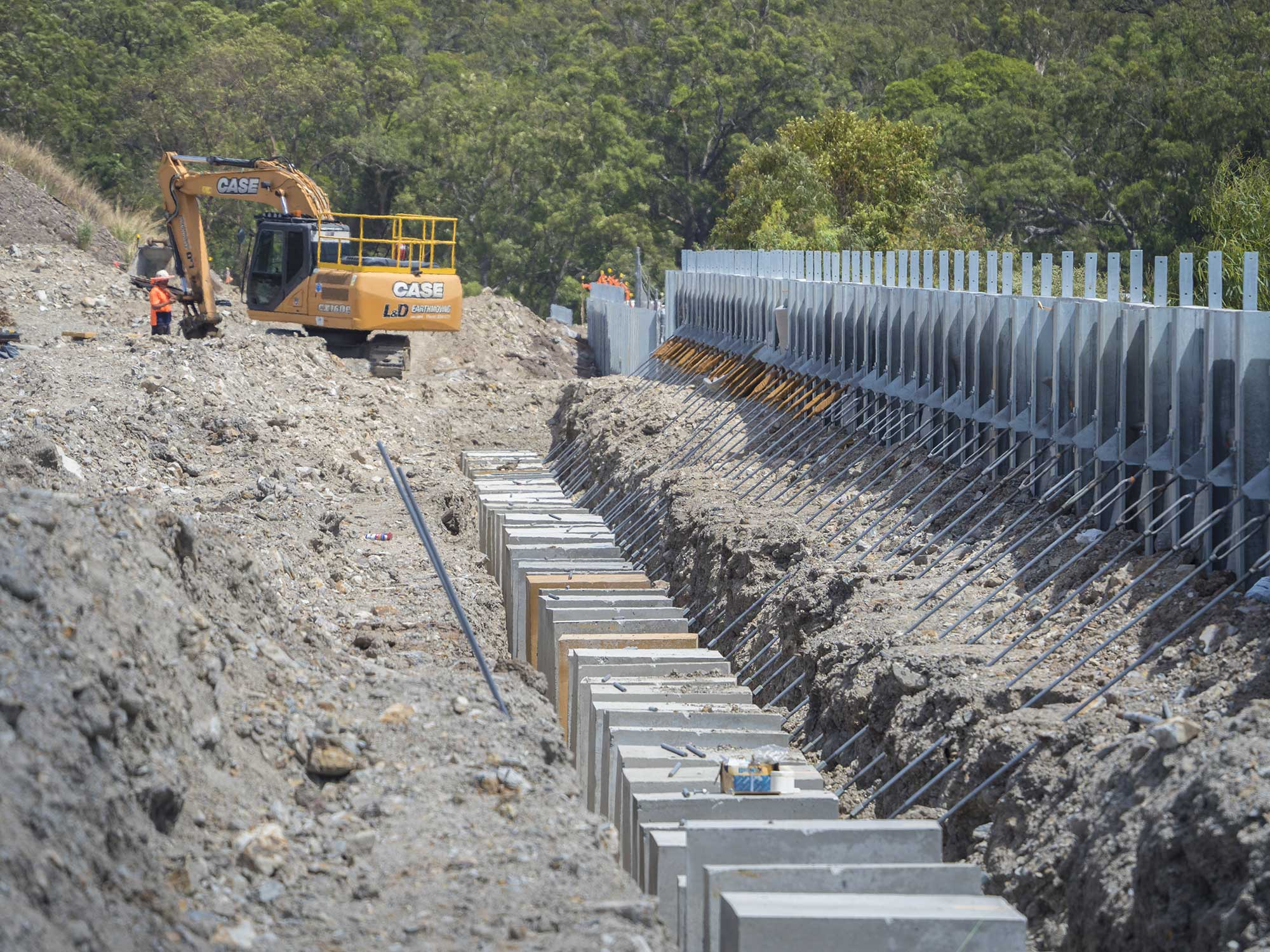 Ground photography of Concrib retaining wall under construction at Yatala