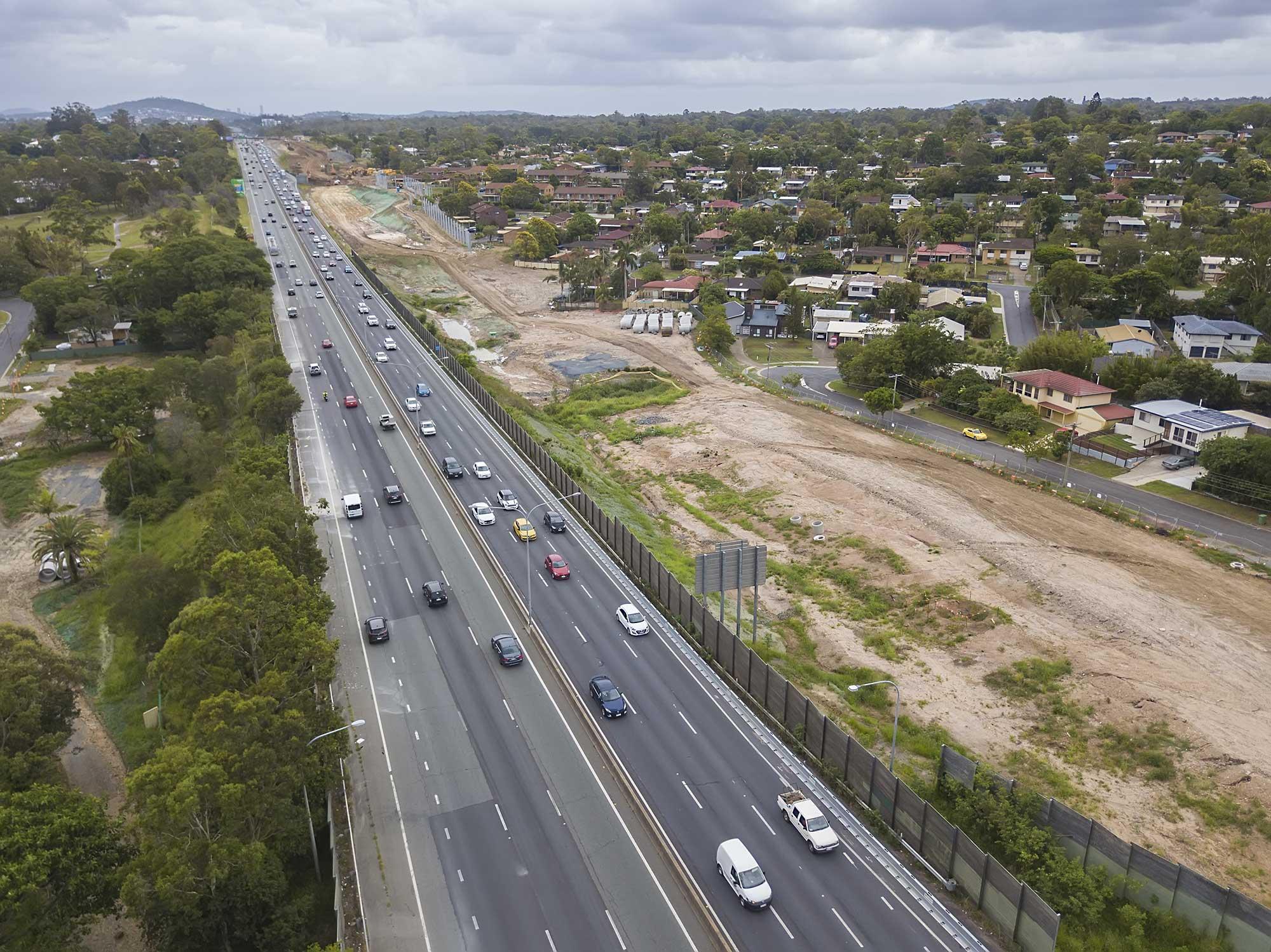 Drone photography HSR M1 interchange Brisbane